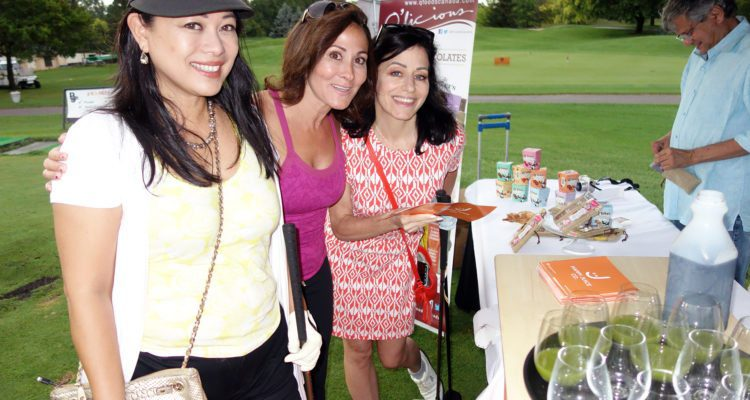 Laura Bilotta and friends at the sponsor tent